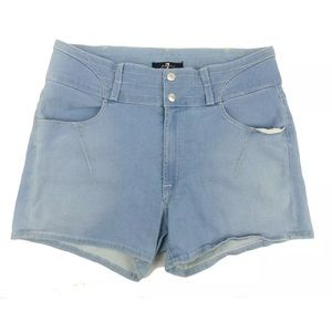 7 For All Mankind 70s High Rise Shorts Pale Blue